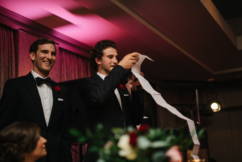 best man speeches at wedding reception in Banff