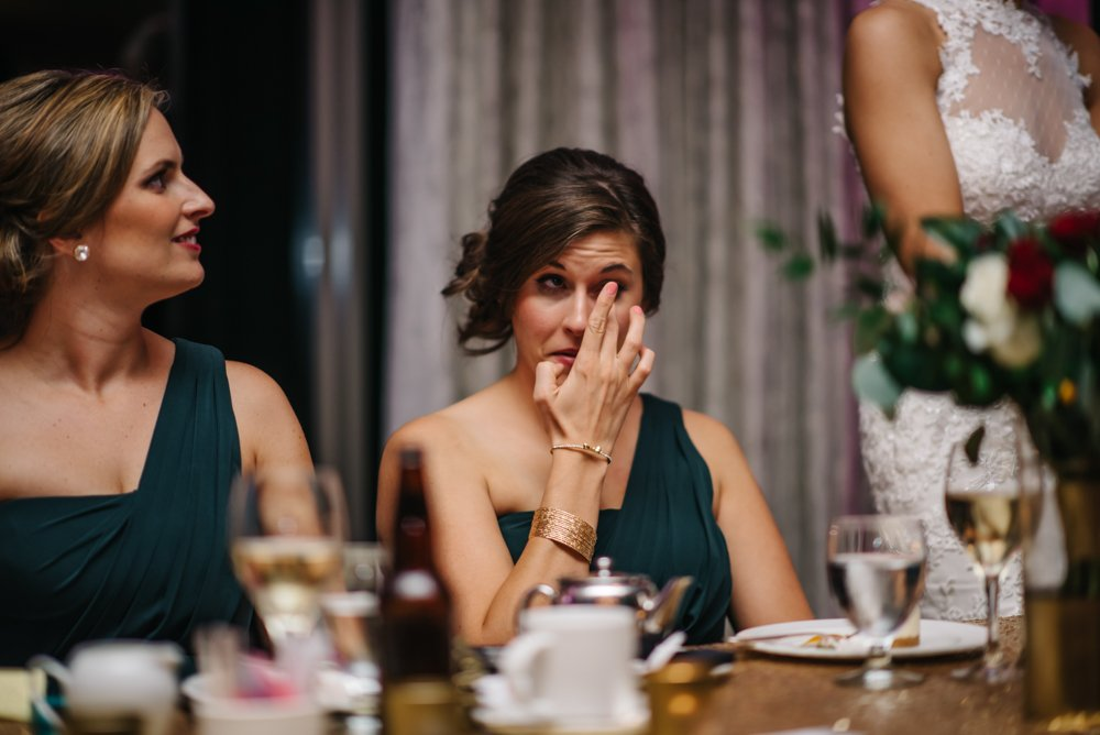 bridesmaid crying during speeches
