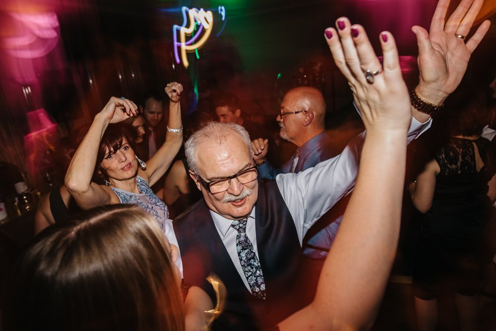 Dance floor party at Banff wedding at the rim rock resort