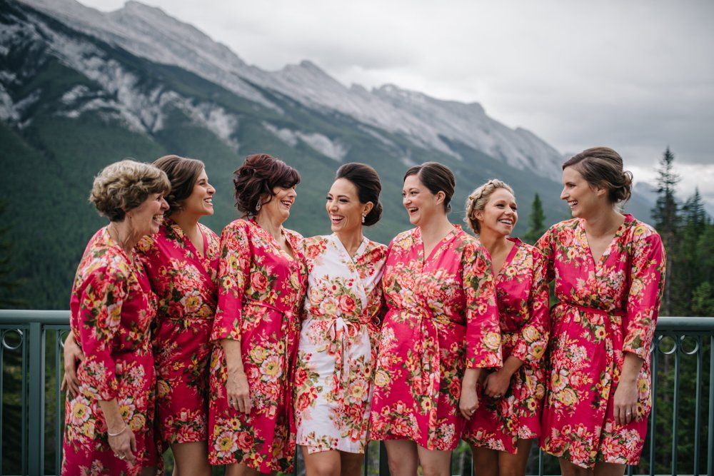 Bridal party wearing silk robes