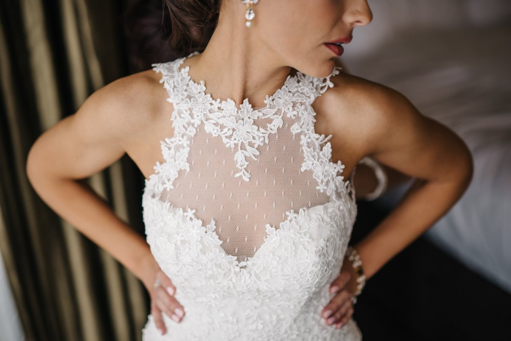 Wedding dress on bride