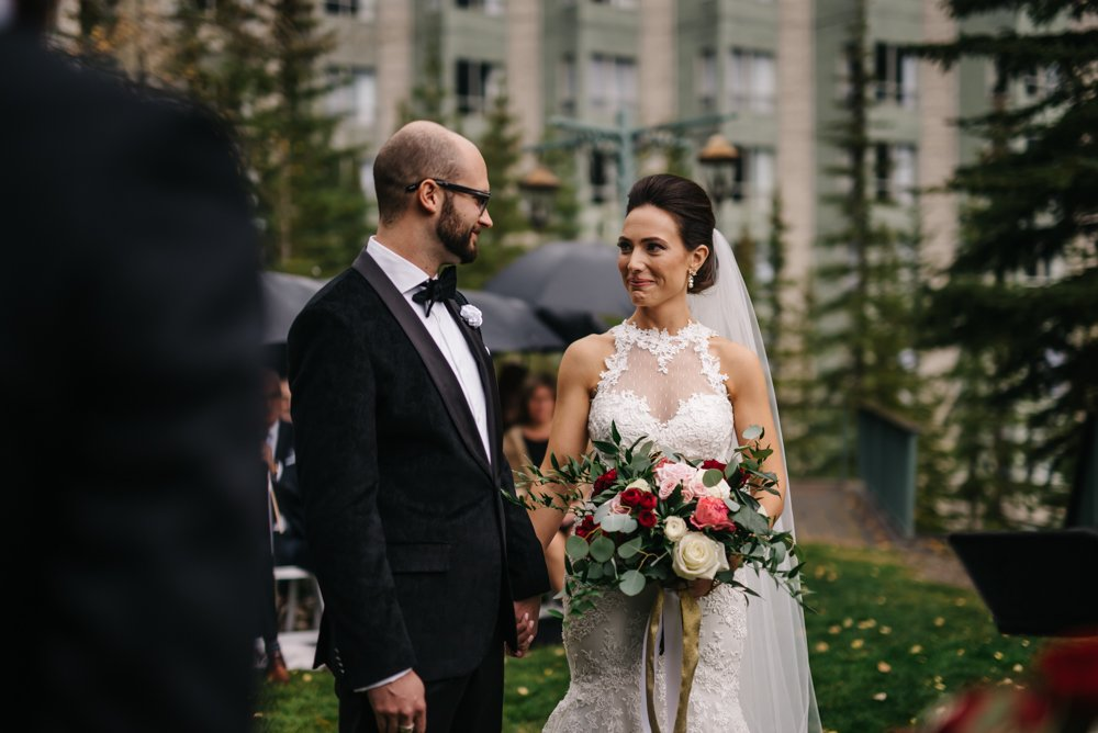 wedding ceremony at the rim rock resort