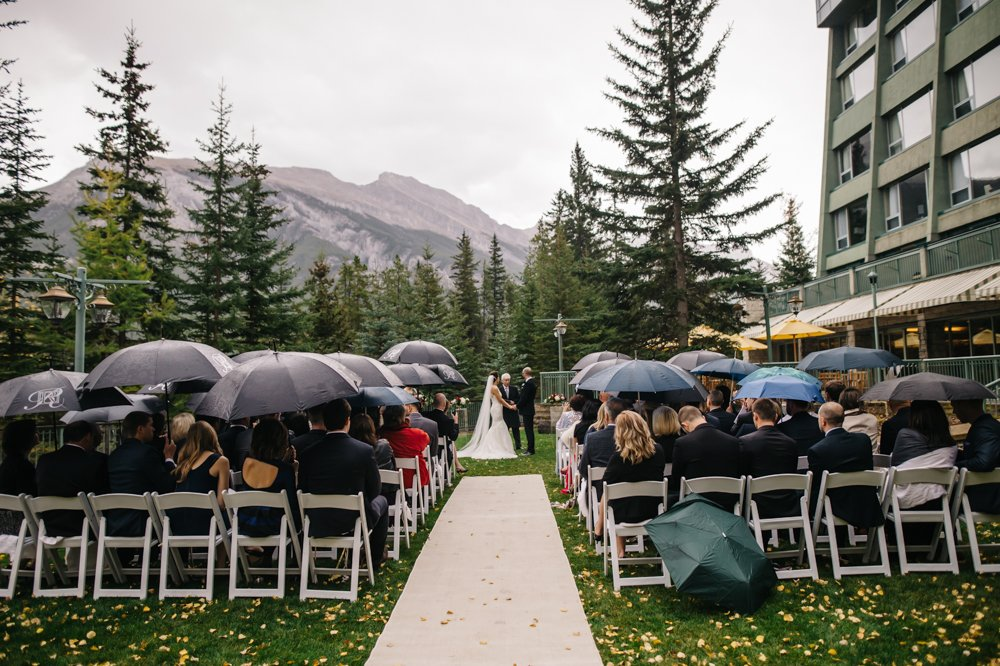 wedding ceremony in the rain in Banff