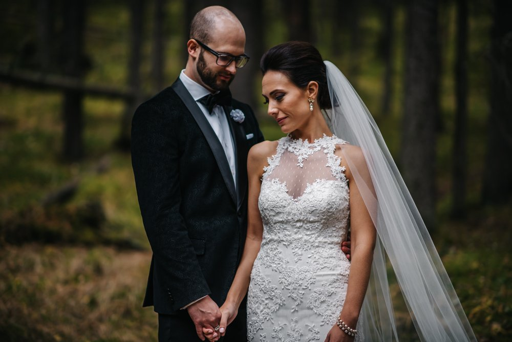 bride and groom portraits in the forest