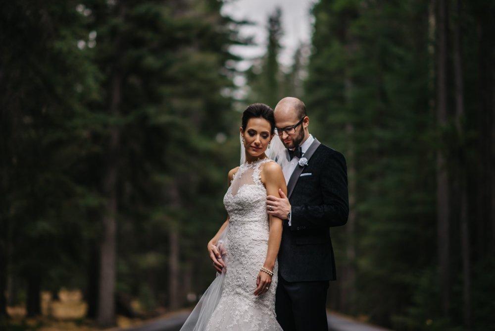 bride and groom wedding photos in Banff