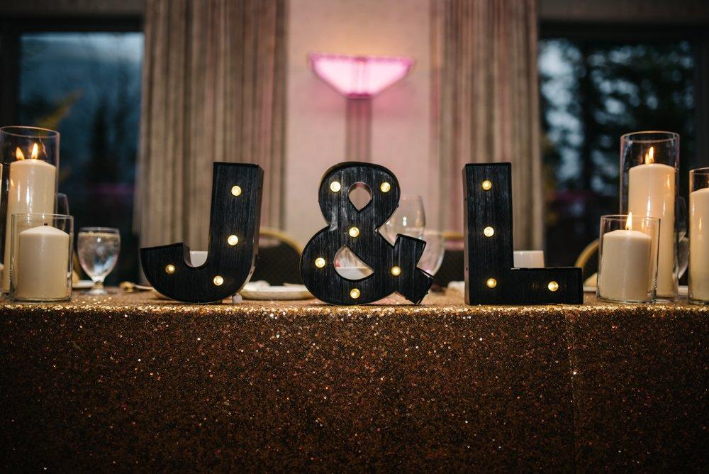 Wedding reception details lettered signs