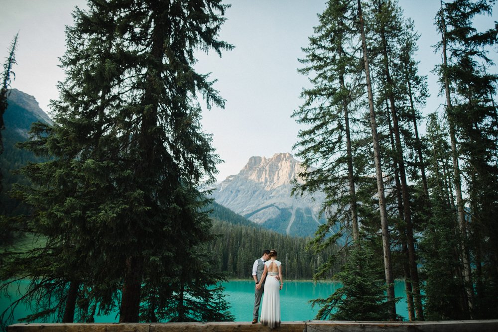 Emerald lake wedding bride and groom